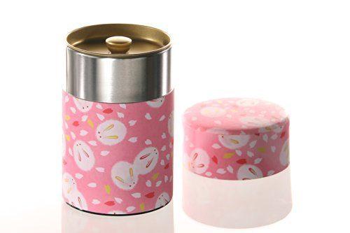 Kitchenova yu zen washi tin tea coffee canister 5 3 oz pink with fluffy white rabbits 23 - Pink tea and coffee canisters ...