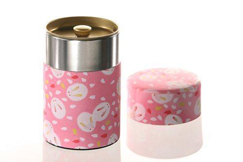 Kitchenova Yu Zen Washi Tin Tea Coffee Canister 5 3 Oz Pink With Fluffy White Rabbits 23