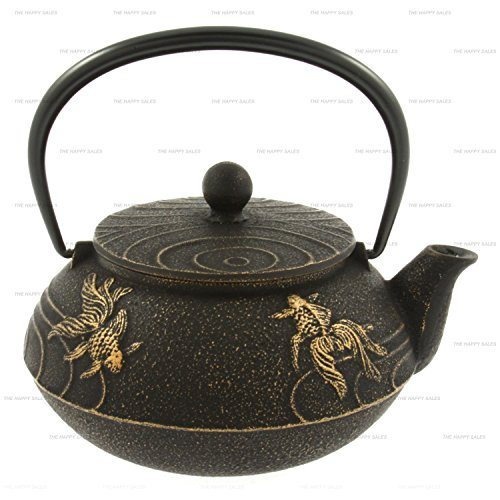 Happy sales cast iron tea set goldfish black gold best tea kettles and tea pots - Imperial dragon cast iron teapot ...