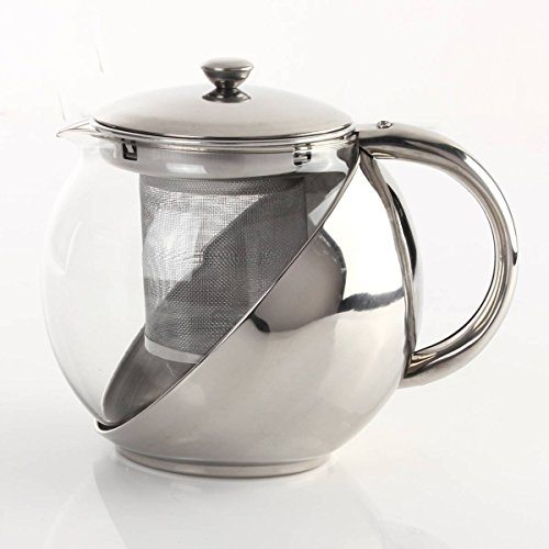 Kingso heat resistant stainless steel glass teapot loose