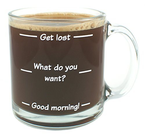 Get lost funny glass coffee mug 13 oz levels which show for Cool glass coffee mugs