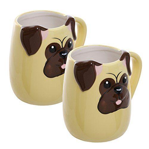 3d pug face yellow ceramic coffee mugs novelty dog lover for Animal face mugs