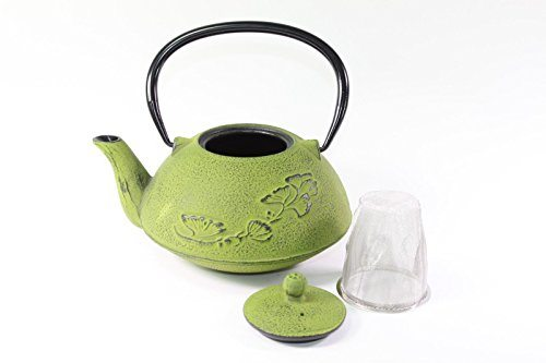 Japanese Antique 24 Fl Oz Green Ginkgo Leaf Cast Iron Teapot Tetsubin With Infuser Best Tea