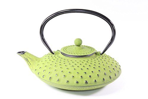Japanese Antique 24 Fl Oz Green Dot Hobnail Chinese Cast Iron Teapot Tetsubin With Infuser