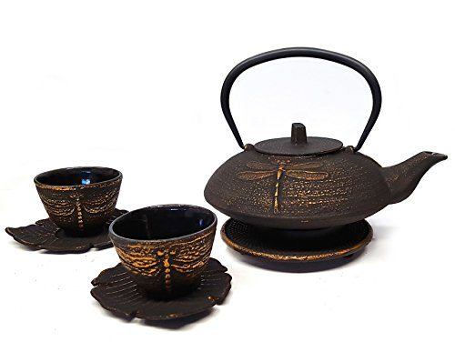 Happy sales cast iron tea set imperial dragon black gold best tea kettles and tea pots - Imperial dragon cast iron teapot ...