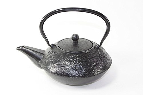 Japanese antique 24 fl oz black chinese dragon design cast iron teapot tetsubin with infuser - Cast iron teapot dragon ...