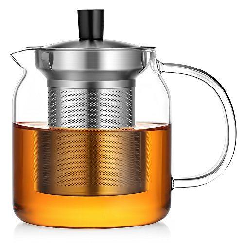 ecooe glass teapot loose leaf tea maker with stainless steel infuser lid pyrex glass teapots. Black Bedroom Furniture Sets. Home Design Ideas
