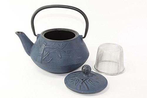 Japanese antique 24 fl oz blue bamboo chinese cast iron teapot tetsubin with infuser best tea - Japanese teapot with infuser ...