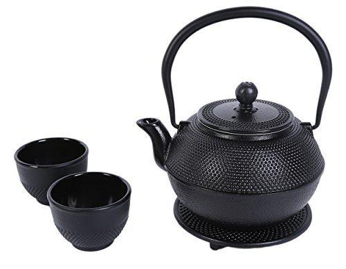 Teapot black cast iron kettle pot tea set with trivet and