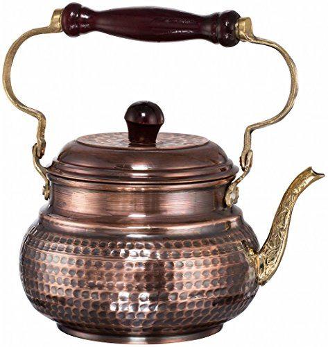 Demmex 2017 Hammered Copper Tea Pot Kettle Stovetop Teapot