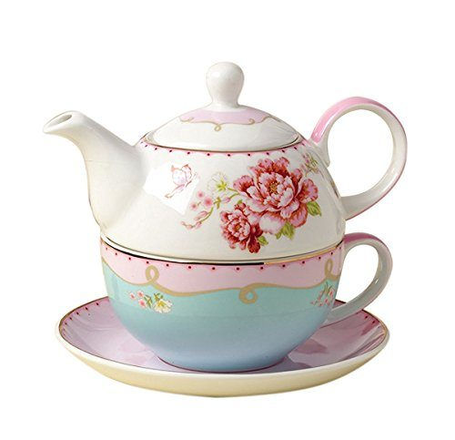 jusalpha fine bone china teapot for one rose teapot and saucer set tea cup with saucer set. Black Bedroom Furniture Sets. Home Design Ideas