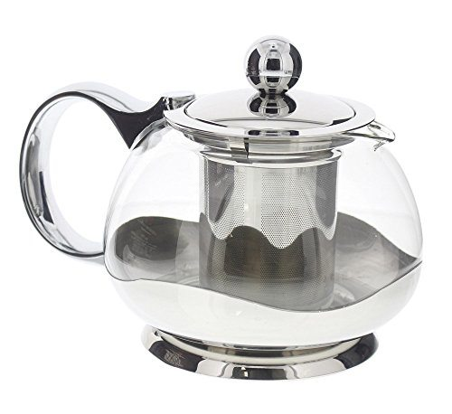 tea pot infuser clear glass and stainless steel teapot. Black Bedroom Furniture Sets. Home Design Ideas