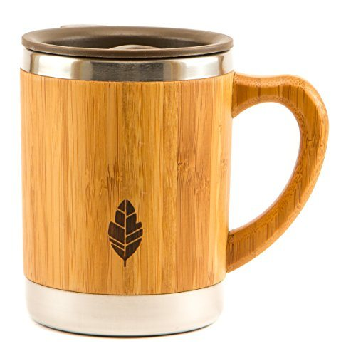 Myhomeideas Stainless Steel Bamboo Insulated Double Wall Mug With Lid Unique Natural Wood Wooden Coffee Tea
