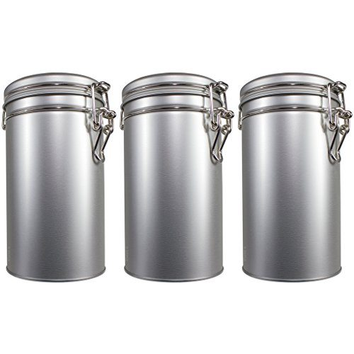 Stainless Steel Metal Tea Tin Canister with Tight Seal Latch Coffee