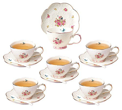 Jusalpha Porcelain Tea Cup And Saucer Set Coffee With Spoon Fd Tcs11 Of 6