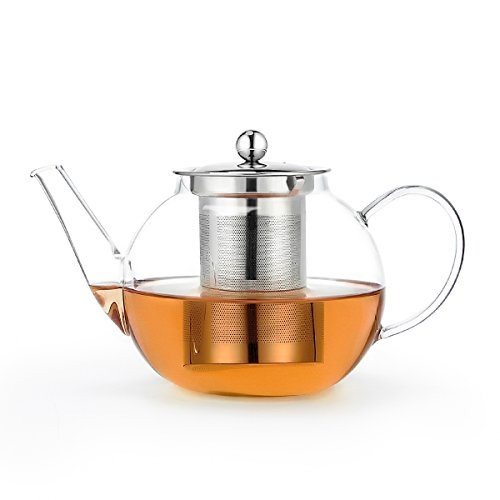 sweese teapot borosilicate glass tea pot with stainless steel infuser 34 ounce 1000ml best. Black Bedroom Furniture Sets. Home Design Ideas