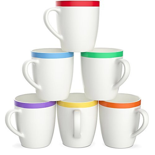 Vremi 12 Oz Coffee Mugs Set Of 6 White Ceramic Porcelain