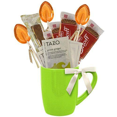Cottage Lane Hot Tea Mug Gift Set Featuring: Tazo Tea, Honey Spoon Stirrer, & a Biscoff Butter Cookie (Green Ginger Tea, Teal Mug)