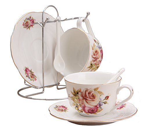 Porcelain Tea Cup And Saucer Coffee Set With Spoon By Wandeful Of 7 2 Cups Saucers Spoons 1 Bracket