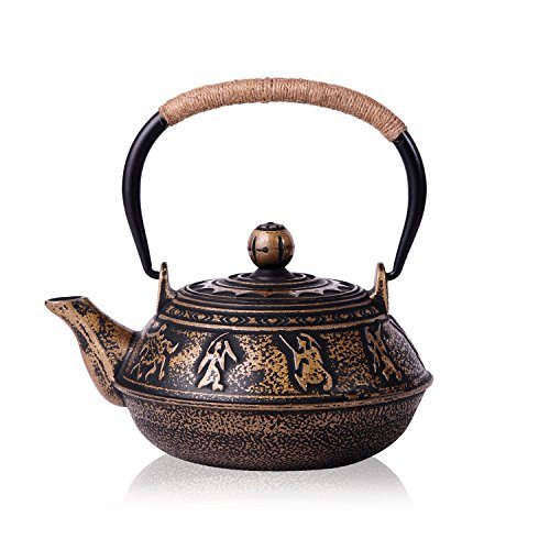 Jueqi japanese cast iron teapot kettle with stainless steel infuser strainer warring states - Japanese teapot with strainer ...