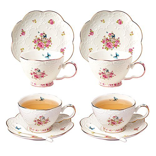 Jusalpha Porcelain Tea Cup And Saucer Set Coffee With Spoon Fd Tcs11 Of 4