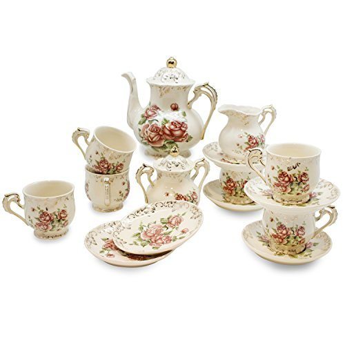 european red rose tea set teapot set 15 pcs includes cup and saucer creamer and sugar set. Black Bedroom Furniture Sets. Home Design Ideas