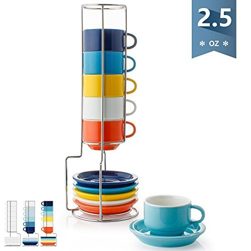 Sweese 4311 Porcelain Stackable Espresso Cups With Saucers