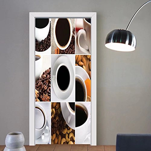 Gzhihine custom made 3d door stickers kitchen coffee mugs collage with almouif cashews beans cinnamon modern composition white black brown for room decor