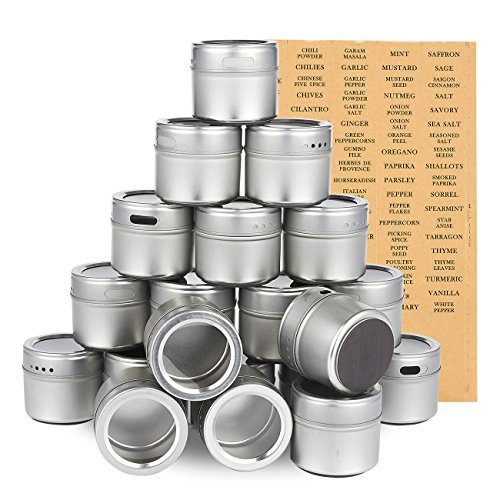 20 Pack Magnetic Spice Containers U2013 Storage Tins With Transparent Lids,  Seasoning Organizers, Metal Spice Jars, Includes 94 Labelling Stickers, ...