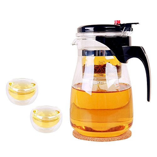 KLS Tea Infuser Set With Glass Teapot Glass Tea Cup and Coaster Patented Loose leaf Tea Maker With Convenient Cleaning Filter Portable Tea Pot With ...  sc 1 st  Tea Kettles & KLS Tea Infuser Set With Glass Teapot Glass Tea Cup and Coaster ...