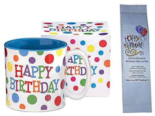 Happy Birthday Polka Dots Coffee Mug With Dutch Chocolate Birthday
