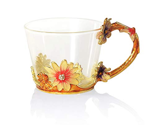 COAWG Glass Coffee Mug Tea Cup8oz Christmas Present Birthday Gift Ideas For Mom Grandma Women Lead Free Handmade Pink Flower Clear Espresso Cups Teacups