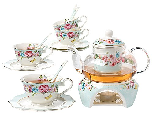 Saucer Teapot and Creamer Jusalpha Fine China White Coffee Cup//Teacup Spoons
